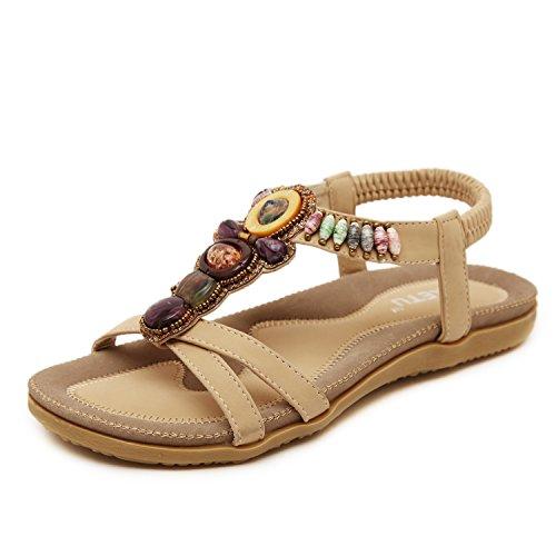 Sandales plates de plage pour femmes - DQQ abricot