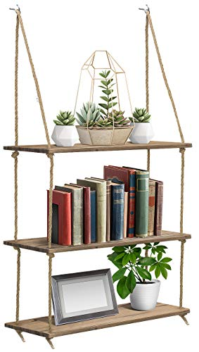 Sorbus Wood Hanging Shelf 3-Tier Rustic Wood Swing Storage Shelves Jute Rope Organizer Rack, Floating Display Shelves (Mahogany)