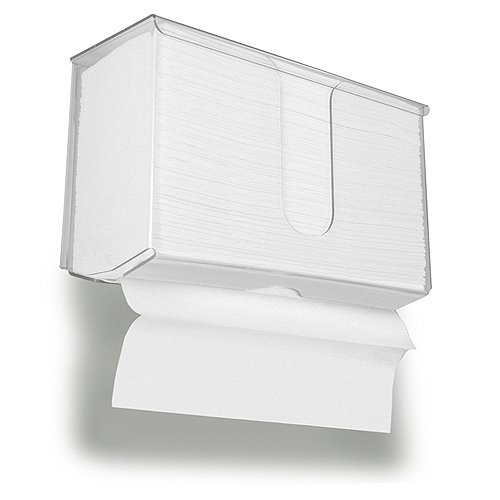 TrippNT 51353 Dual Dispensing Paper Towel Holder with Lid, 10-7/8' x 6-1/2' x 4-1/4', Clear 10-7/8 x 6-1/2 x 4-1/4