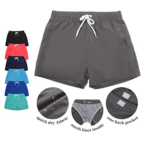 AOXION Mens Short Swim Trunks with Mesh Lining Quick Dry Bathing Suits Shorts Board Shorts for Men (Army Green, Large (Waist : 31-33