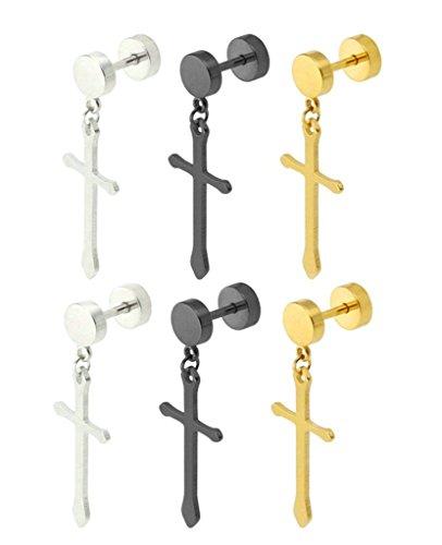 Beydodo 3 Pairs/6Pcs Stainless Steel Dangle Earrings Set for Men Women Ear Piercing Cross Drop Earrings