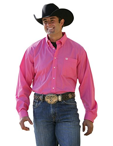 Cinch Men's Solid Button-Down Western Shirt Pink - Ranch Western Shirt