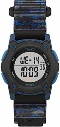 Timex Boys' Time Machines Digital Quartz Nylon Strap, Black, 18 Casual Watch (Model: TW7C774009J)