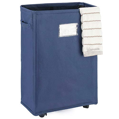 Caroeas 22 Slim Rolling Laundry Basket Waterproof Laundry Storage Hamper Corner Fittable Storage Bag Collapsible Rolling Hamper Flexible Laundry Bag On Wheel for Home,Office (Slim 22,Navy Blue)