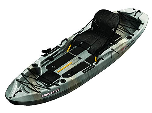 SUNDOLPHIN Sun Dolphin Boss SS Sit-On/Stand On Top Angler Kayak (Gray Swirl, 12.3-Feet) (Boat Fishing Ft 12)