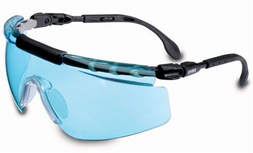 Uvex S0407X FitLogic Safety Eyewear, Black and Silver Frame, SCT-Blue UV Extreme Anti-Fog Lens