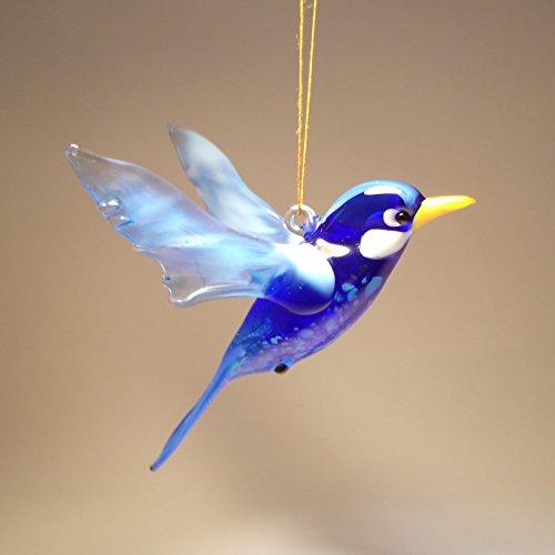 (Glass BLUE Bird Bluebird Hanging Figurine Ornament)