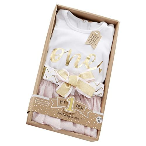 Baby Aspen My First Birthday 3-Piece Outfit, 12-18 months White/pink