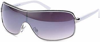 Damen Kunststoff Sonnenbrille Monoscheibe mit Kontrastlinie und schmalen Bügeln- Im Set mit Etui