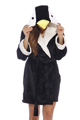6316-Penguin-M Just Love Critter Robe / Robes for Women, Penguin (Velour), Medium