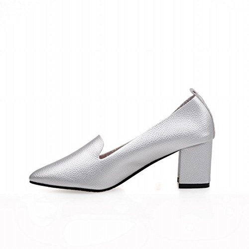 Carolbar Womens Pointed Toe Fashion Simple Sexy Chunky Mid Heel Loafers Pumps Shoes Silver 17RzlnQduz