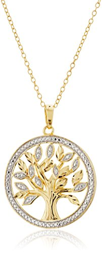 18k Yellow Gold Plated Sterling Silver Diamond Accent Two Tone Tree of Life Pendant Necklace, 18
