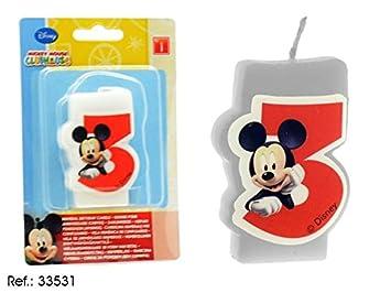 VELA CUMPLEAÑOS MICKEY N 3: Amazon.es: Juguetes y juegos