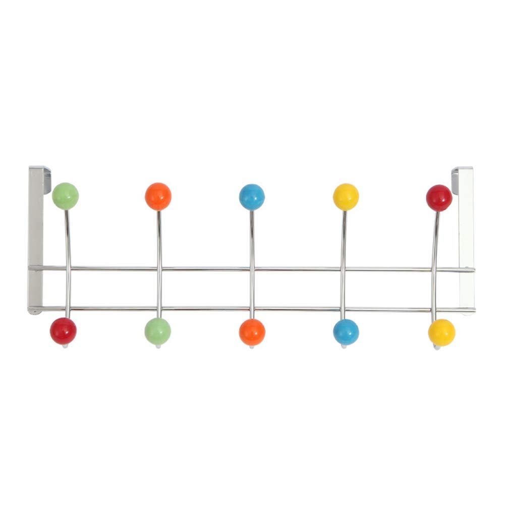 HOUTBY Over The Door Hanger with 10 Colored Hooks Stainless Steel Dormitory Organizer Holder Rack for Towel Bag Clothes