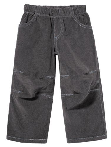 City Threads Boys' Corduroy Pull-Up Pants for School or Play; Comfortable for Active Children in for Sensitive Skin or Sensory Disorder - Charcoal - 8