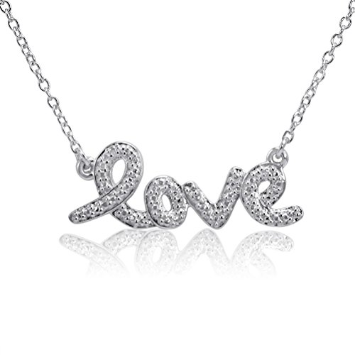 Sterling Silver LOVE Necklace with a Diamond Accent (17.5 inches) Diamond Accent Love Necklace