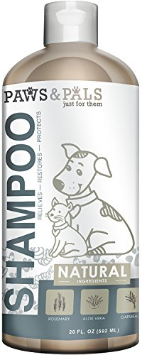 Paws & Pals Natural Oatmeal Dog-Shampoo And Conditioner - 20oz Medicated Clinical Vet Formula Wash For All Pets Puppy & Cats - Made with Aloe Vera for Relieving Dry Itchy - Dog Shampoo Oatmeal