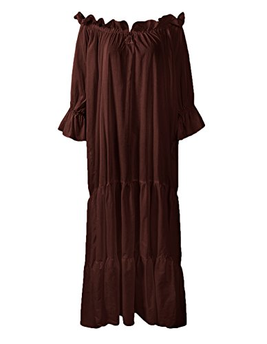 ReminisceBoutique Renaissance Medieval Dress Costume Classic Chemise Ruffled Tiered Peasant Sleeve (Regular, Brown) (Womens Chemise Brown)