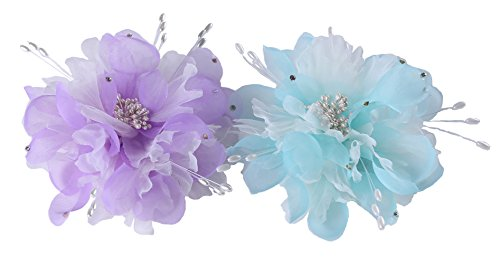 JAWEAVER Flower Fascinator Hair Clips Brooch Girls Women Wedding Party Head Piece(Lavender Purple + Blue Green) ()