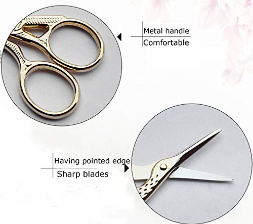 2021NEWEST SHZDMH Professional Eyebrow Scissors/Silk Scissors Stork Scissors(4.5 inches, gold)