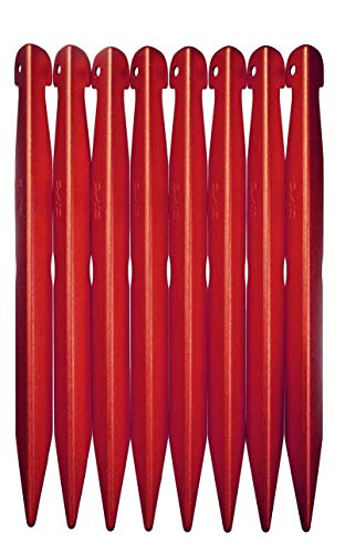 DAC V-Best tent stakes, 4 sizes, ultralight & super-strong, performance engineered by the premier tent pole maker, (sM - 8.5x13mm, 8 pack Fire colored)