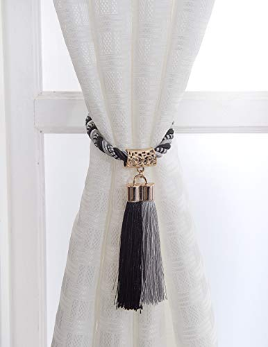 PRAVIVE Extra Long Decorative Tassel Rope Tie Backs for Large Window Curtain, Hand Knitting Buckle Cord Drapery, Set of 2, Grey & Black