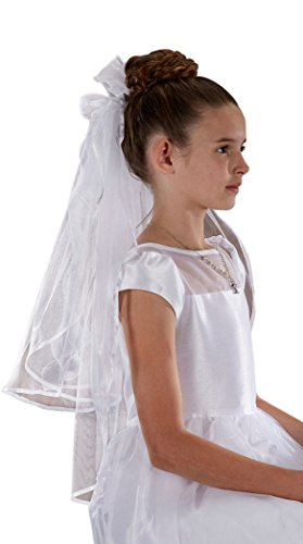 Girls First Communion Veil with Sheer Bows and Flowers, White, 26 Inch