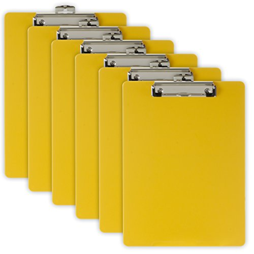 Officemate Recycled Plastic Clipboard, Letter Size, Yellow, Pack of 6 (83082) ()
