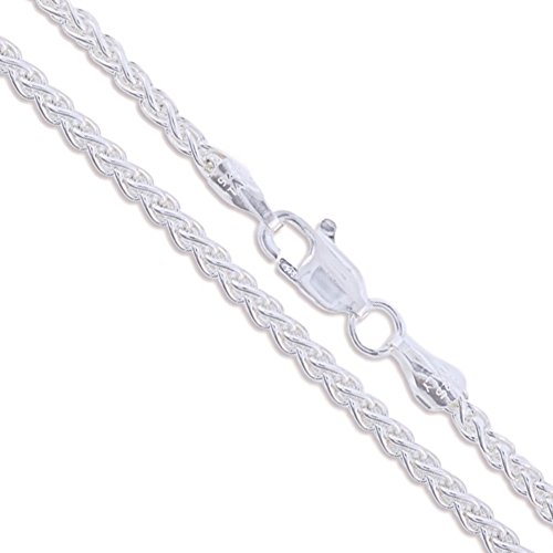 Sterling Silver Wheat Chain 2.6mm Solid 925 New Foxtail Spiga Necklace 24