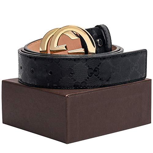 (Gold/Silver/Black Buckle Black Leather Unisex Fashion Belt for Mens Pants Jeans Shorts ~ 3.8cm Belt)