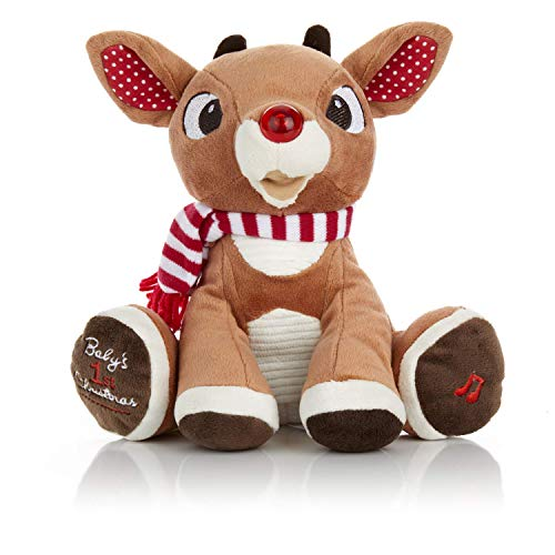 Rudolph The Red-Nosed Reindeer Baby's First Christmas Plush with Music and Lights, 8 Inches (Christmas Stuff All)