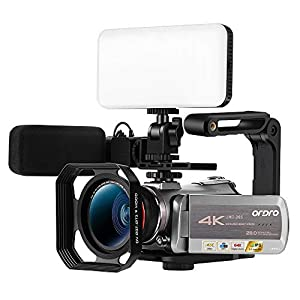 """Flashandfocus.com 41n-6e6fJVL._SS300_ Ordro AZ50 Ultra HD 4K Camcorder Night Vision Digital WiFi Camera, 3.1"""" IPS Touch Screen,Digital Zoom Recorder with External Microphone,LED Light, Wide Angle Lens, Lens Hood, 64G SD Card,Stabilizer"""