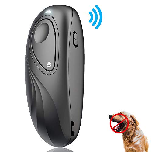 2020 New Anti Barking Device, Ultrasonic Dog Bark Deterrent and 2 in 1 Dog Training Aid Control Range of 16.4 Ft w/Anti-Static Wrist Strap LED Indicate Walk a Dog Outdoor