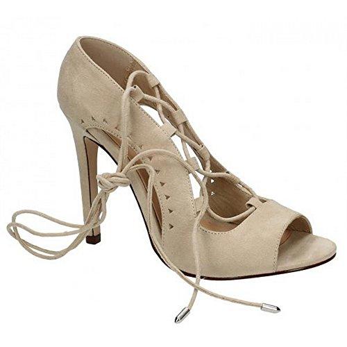 Spot On Womens/Ladies Side Slit Peep Toe High Heel Shoes Nude Microfibre frb419SHK