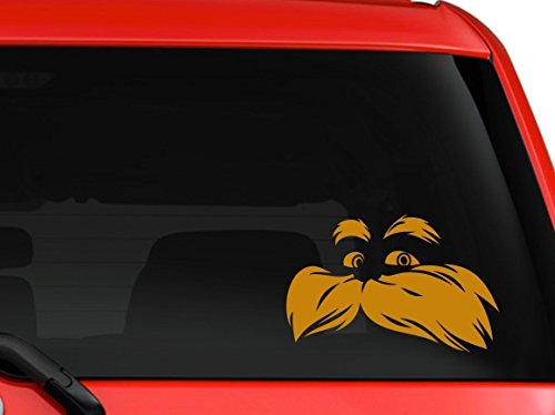 LA DECAL Lorax Dr Seuss children story book character car truck SUV window laptop Kitchen wall macbook decal sticker Approx 6x4 inches orange -