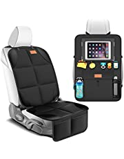 Smart eLf Car Seat Protector and Kick Mat Car Seat Organizer, Carseat Protectors Backseat Car Organiser for Child Baby Seats with Storage Pockets for Leather and Fabric Seat, Waterproof 600D Fabric