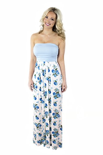 Prince Blue Floral Sleeveless Women's Your Maxi Dress Charm qxf56wYK