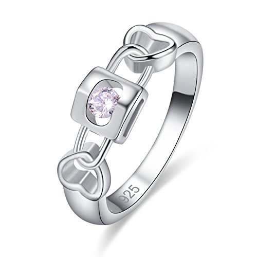 Psiroy 925 Sterling Silver Created White Topaz Filled Key to Heart Wedding Ring Band Size 8
