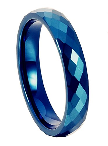 King Will 6mm Blue Diamond Faceted Polished Domed Tungsten Carbide Ring Wedding Band(8.5)