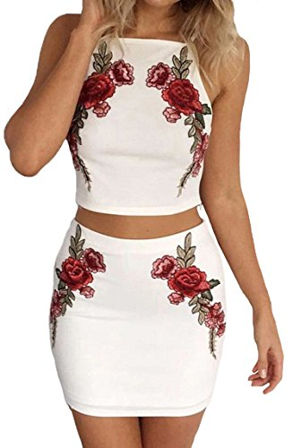 PRETTODAY Embroidered Women Mini Dress Set Sexy Elegant Homecoming Summer Backless (Backless Skirt)