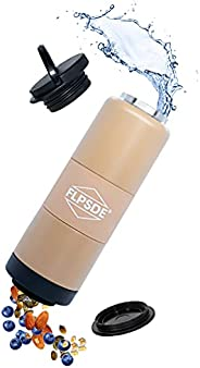 FLPSDE Dual Chamber Water Bottle   Drink+Snack   Vacuum Insulated Stainless Steel   Made for Adventure