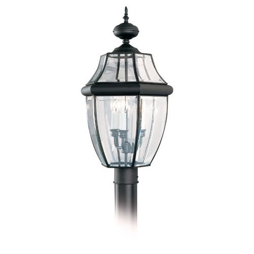 Sea Gull Lighting 8239-12 Outdoor Post Mount with Clear Beveled Glass Shades, Black Finish (Lancaster Black Wall Lantern)