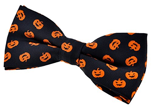 Retreez Joyful Fun Happy Halloween Pattern Woven Microfiber Pre-tied Bow Tie (4.5