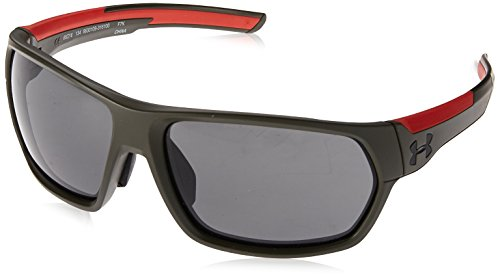 Under Armour Wrap Sunglasses UA SHOCK (ANSI) MATTE ROUGH GREEN/RED FRAME/GRAY LENS ()