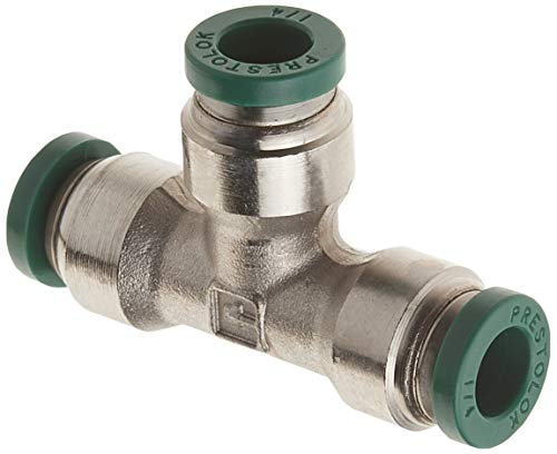 Connect Union Tee - Parker Hannifin 164PLP-4 Prestolok PLP Nickel Plated Brass Union Tee Push-to-Connect Fitting, 1/4