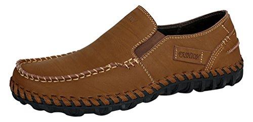Abby 9522 Heren Slip Op Schoenen Rijden Casual Klassieke Baan Slimme Lederen Slip Op Sneakers Oker