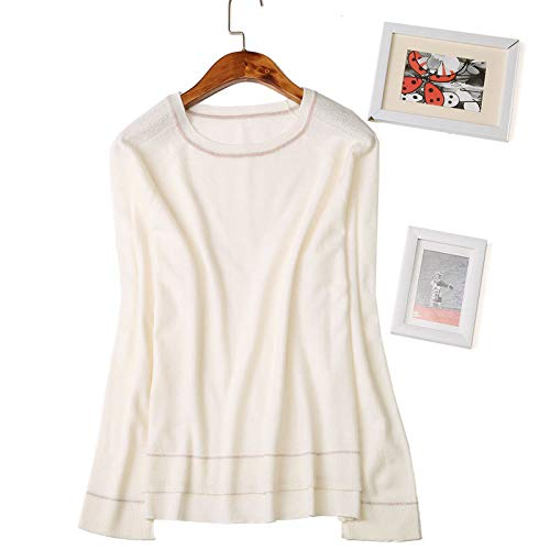 European Nighout White Sweater Worsted Milky Women's Shirt New tvOvqwg