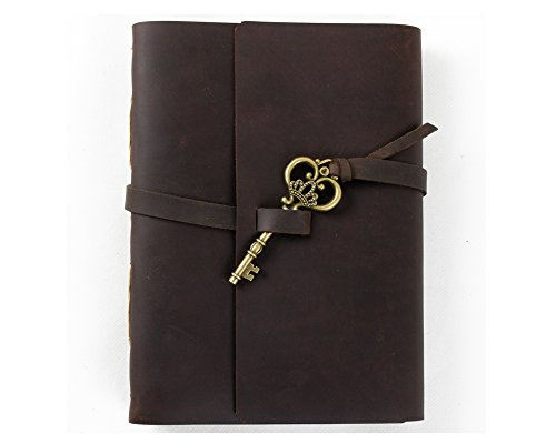Ancicraft Unique Leather Journal Diary with Vintage Key Handmade A5 Blank Craft Paper Brown with Gift Box (A5(5.9×8.3inch)  Blank Craft Paper)