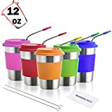 Best Tumblers With Straw Cups - Kids Stainless Steel Cups 12 oz With Silicone Review