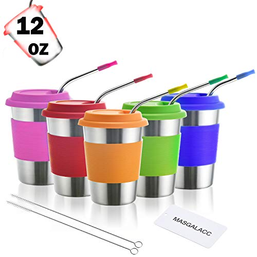 Kids Stainless Steel Cups 12 oz With Silicone Lids & Straw 5 Pack Drinking Tumblers for Adults, Children and Toddlers